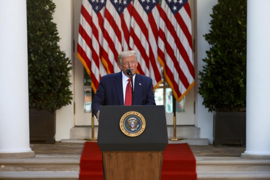 US President Donald Trump attends a news conference in the Rose Garden at the White House in Washington, US on July 14, 2020 — Reuters photo