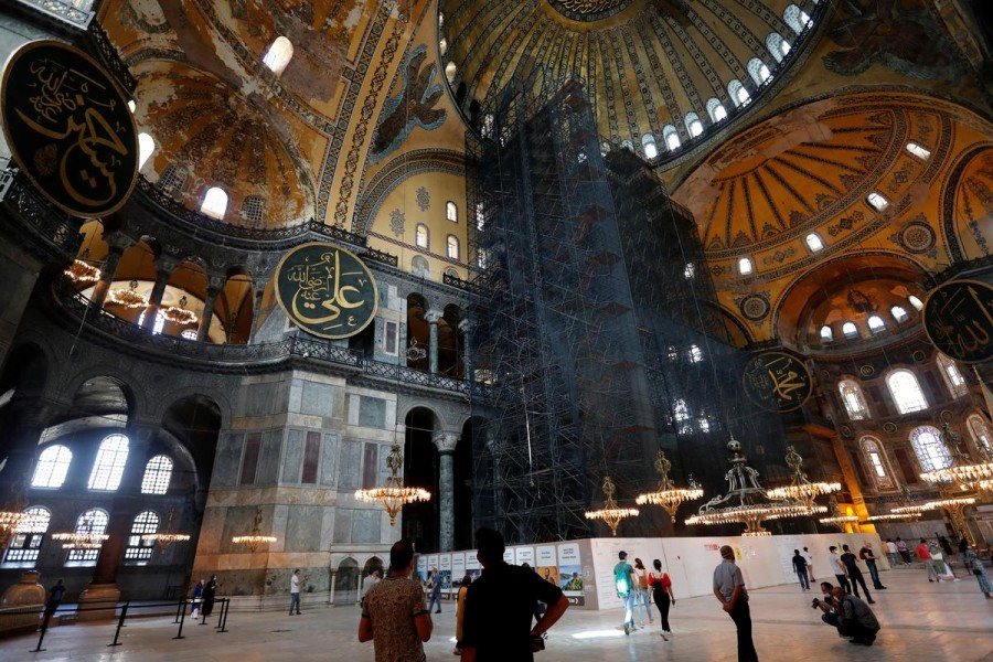 People visit the Hagia Sophia or Ayasofya in Istanbul, Turkey on July 10, 2020 — Reuters photo
