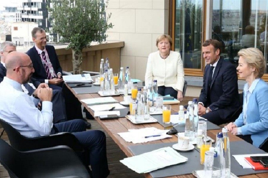 Netherland's Prime Minister Mark Rutte, Austria's Chancellor Sebastian Kurz, Finland's Prime Minister Sana Marin, Sweden's Prime Minister Stefan Lofven and Denmark's Prime Minister Mette Frederiksen attend a meeting at the first face-to-face EU summit since the coronavirus disease (COVID-19) outbreak, in Brussels, Belgium, July 19, 2020 — Francois Walschaerts/Pool via Reuters