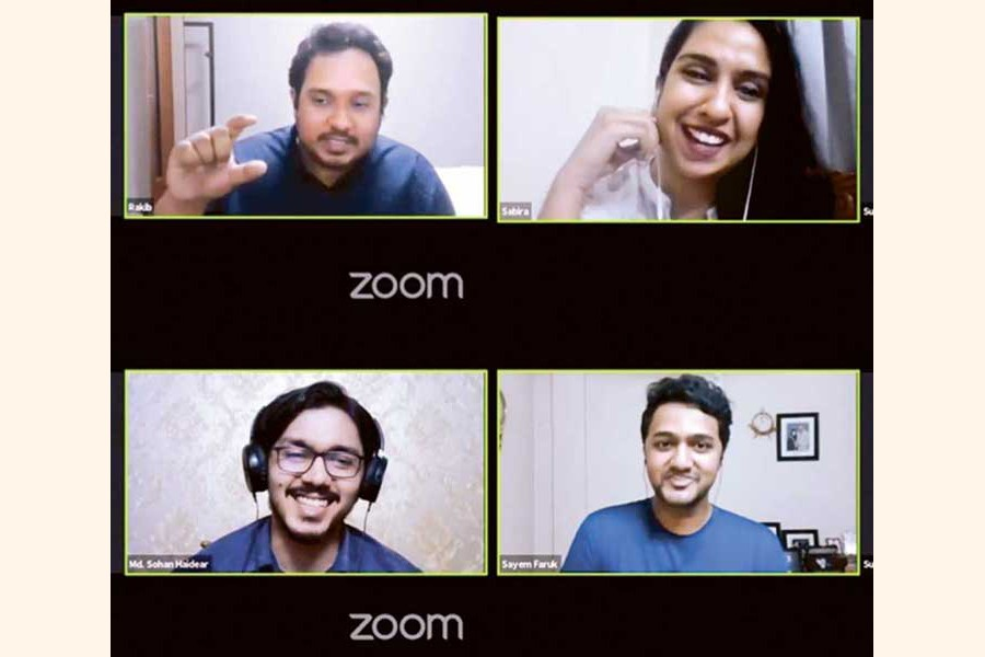 Clockwise from top-left: Rakib Ibnay Hossain, brand manager at British American Tobacco; Sabira Mehrin, founder of Wander Woman, Sayem Faruk, co-founder of Alpha Catering; Md. Sohan Haider, CEO of Smartifer Academy taking webinar session