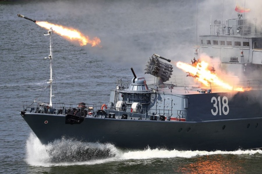 The Russian small anti-submarine ship Aleksin fires missiles during the Navy Day parade in Baltiysk, Kaliningrad region, Russia July 26, 2020. Reuters