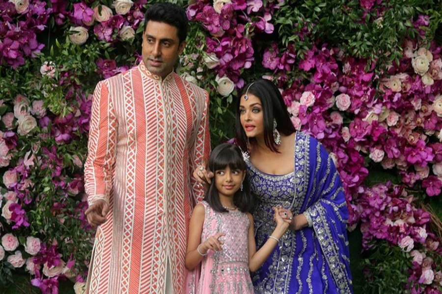 Indian film actor Abhishek Bachchan, his wife Aishwarya Rai and their daughter Aaradhya in a 2019 photograph taken at the wedding of Akash Ambani, the son of Reliance Industries chairman Mukesh Ambani, in Mumbai. REUTERS