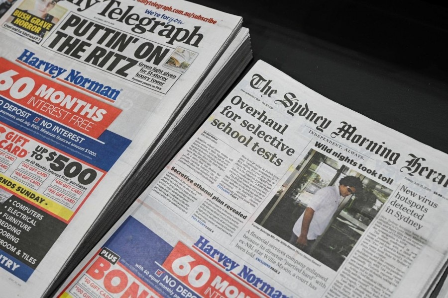 Newspapers are seen for sale at a shop in Sydney, Australia on July 31, 2020 — Reuters photo