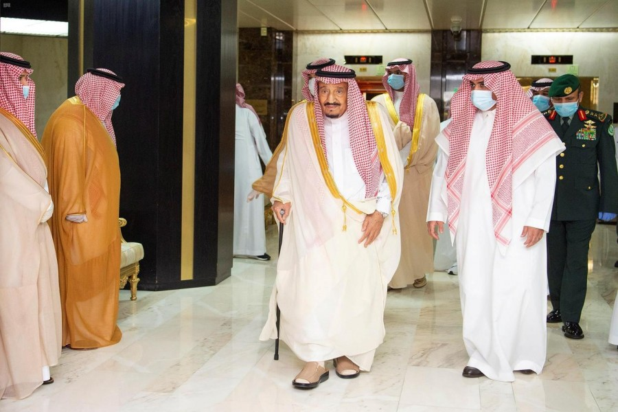 Saudi King Salman bin Abdulaziz leaves the King Faisal Hospital after a successful surgery, in Riyadh, Saudi Arabia on July 30, 2020 — Saudi Press Agency/Handout via REUTERS