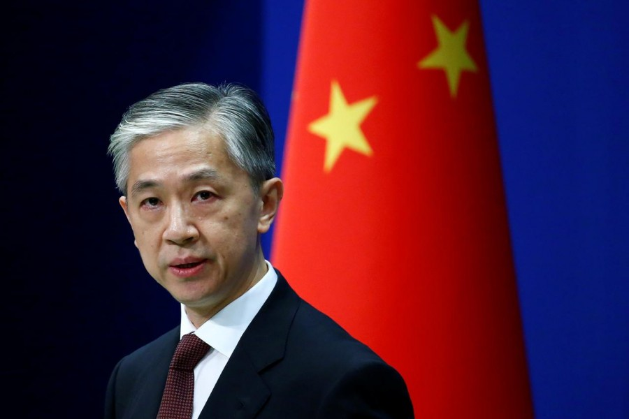 Chinese Foreign Ministry spokesman Wang Wenbin speaks during a news conference in Beijing, China on July 27, 2020 — Reuters/Files