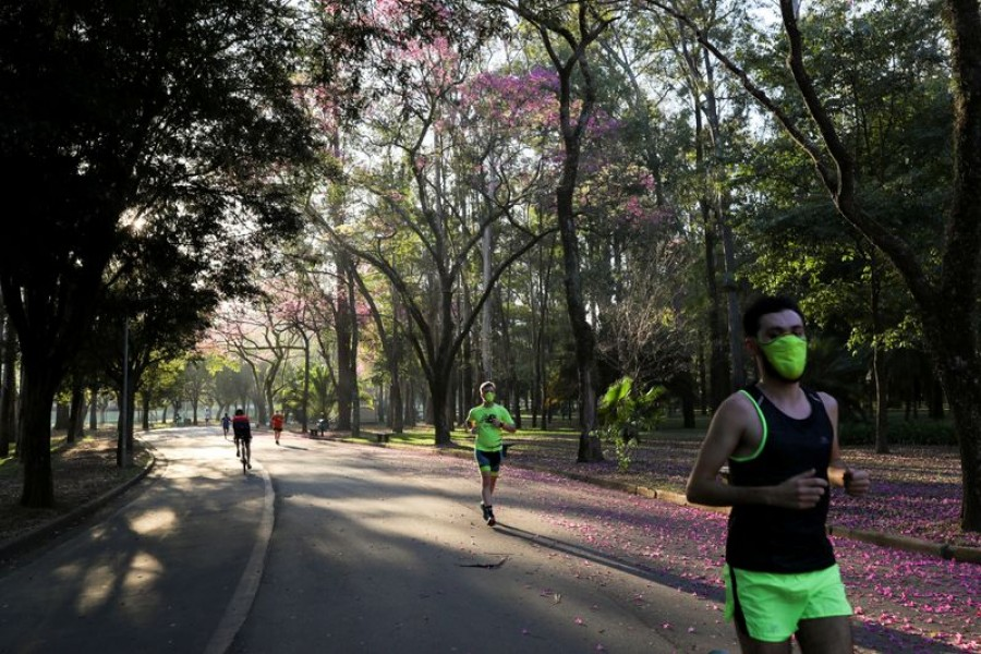 People run at Ibirapuera Park after it was reopened as the city eases the restrictions imposed to control the spread of the coronavirus disease (Covid-19), in Sao Paulo, Brazil on July 13, 2020 — Reuters/Files