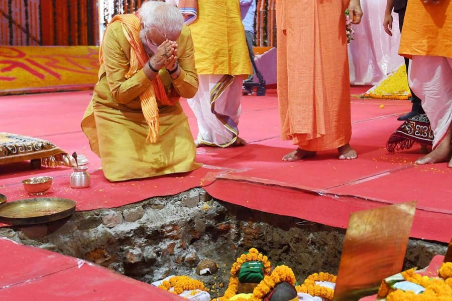 India's Prime Minister Narendra Modi attending the foundation-laying ceremony of a Hindu temple in Ayodhya on Wednesday –Reuters Photo
