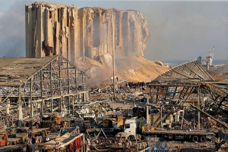 A general view shows the damage at the site of Tuesday's blast in Beirut's port area, Lebanon, August 05, 2020 — Reuters