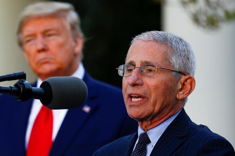 Dr Anthony Fauci, director of the National Institute of Allergy and Infectious Diseases, addresses the daily coronavirus response briefing as US President Donald Trump stands by in the Rose Garden at the White House in Washington, US, March 30, 2020 — Reuters/Files