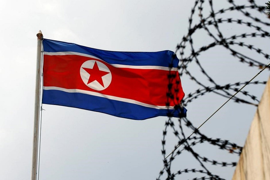 The North Korea flag flutters next to concertina wire at the North Korean embassy in Kuala Lumpur, Malaysia, March 09, 2017 — Reuters/Files
