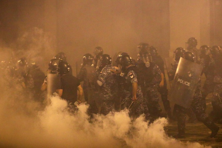 Police officers are seen during a protest following Tuesday's blast, in Beirut, Lebanon, August 09, 2020 — Reuters
