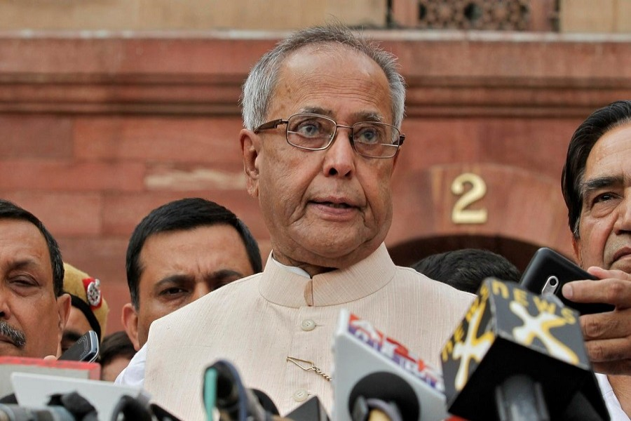 Pranab Mukherjee speaks to media in the run-up to the Indian presidential election in New Delhi, June 26, 2012 — Reuters/Files