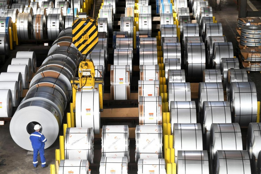 Steel rolls are pictured at the plant of German steel company Salzgitter AG in Salzgitter, Germany on March 2, 2020 — Reuters/Files