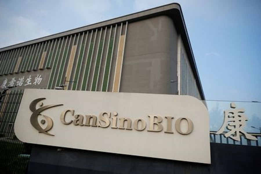 A logo of China's vaccine specialist CanSino Biologics Inc is pictured on the company's headquarters in Tianjin, following an outbreak of the coronavirus disease (Covid-19), China, August 17, 2020 — Reuters/Files