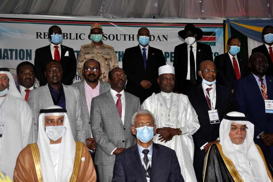 Delegates posing for a photograph during the signing of a peace agreement between Sudan's power-sharing government and key rebel groups, a significant step towards resolving deep-rooted conflicts that raged under former leader Omar al-Bashir, in Juba, South Sudan on Monday –Reuters Photo