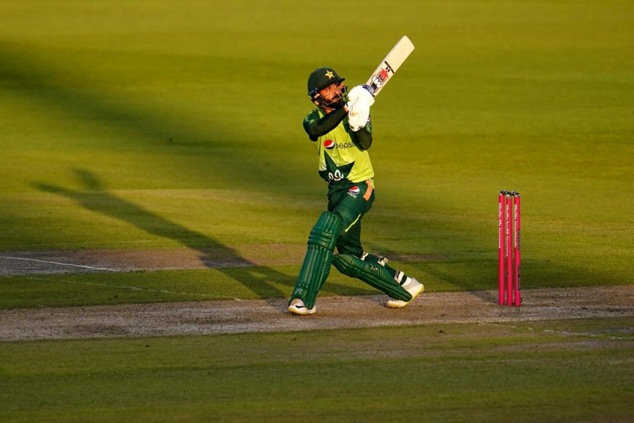 Pakistan's Mohammad Hafeez seen in action in this Reuters photo