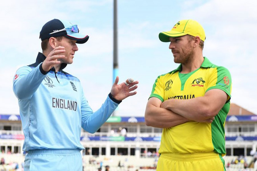England Twenty20 captain Eoin Morgan and Australia skipper Aaron Finch seen together in this undated file photo. Courtesy: ECB