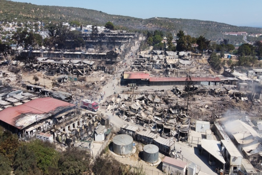An aerial view of destroyed shelters following the fire at the Moria camp, in a picture taken with a drone [Alkis Konstantinidis/Reuters]