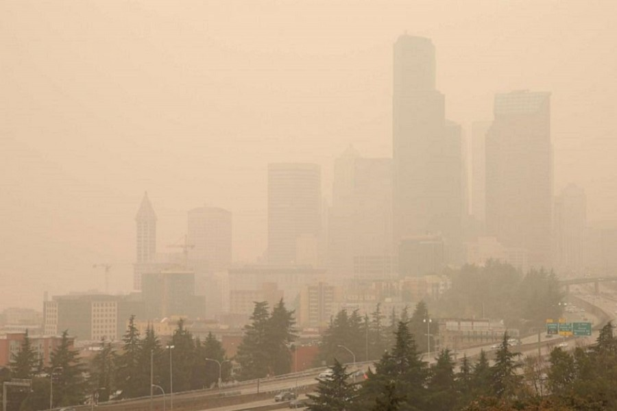 Smoke from wildfires covers the skyline of Seattle, Washington, US, September 12, 2020 — Reuters/Files