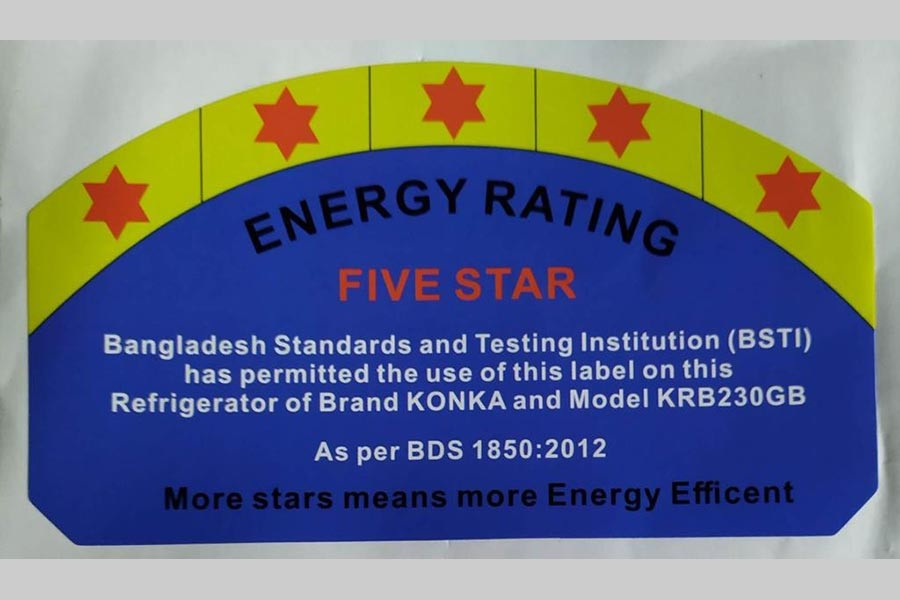 BSTI gives approval to put 5-star Energy Rating Label on Konka refrigerators, freezers