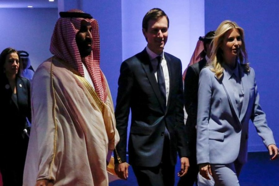Saudi Arabia's Deputy Crown Prince Mohammed bin Salman escorts White House senior advisor Jared Kushner and his wife White House senior advisor Ivanka Trump at the Global Center for Combatting Extremist Ideology in Riyadh, Saudi Arabia May 21, 2017. Reuters