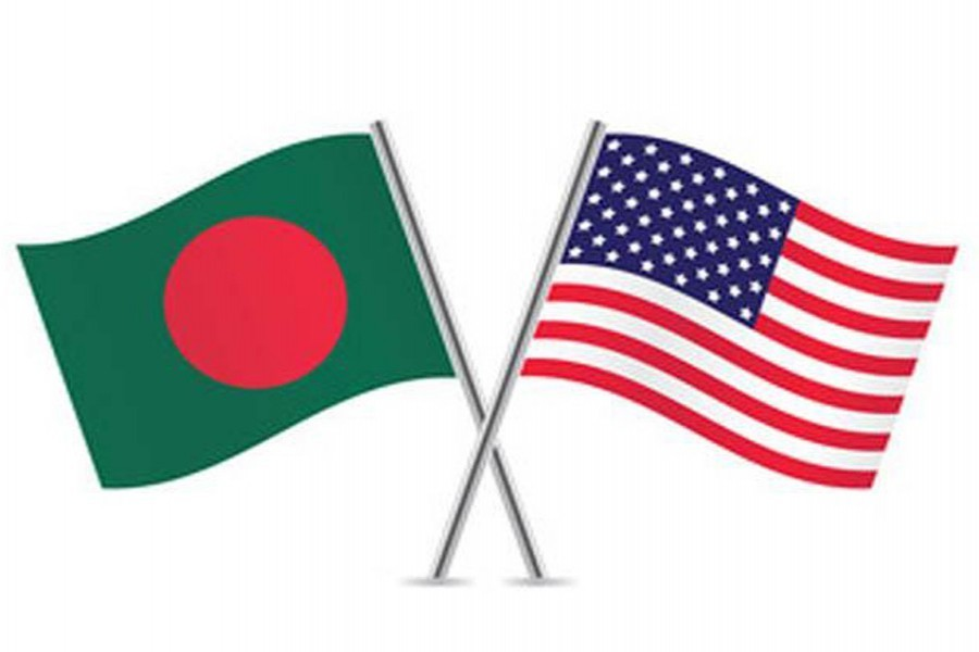 Flags of Bangladesh and the USA are seen cross-pinned in this photo symbolising friendship between the two nations