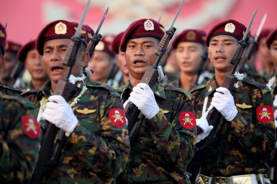 Myanmar soldiers take part in a military parade to mark the 74th Armed Forces Day in the capital Naypyitaw, on March 27, 2019 — Reuters/Files