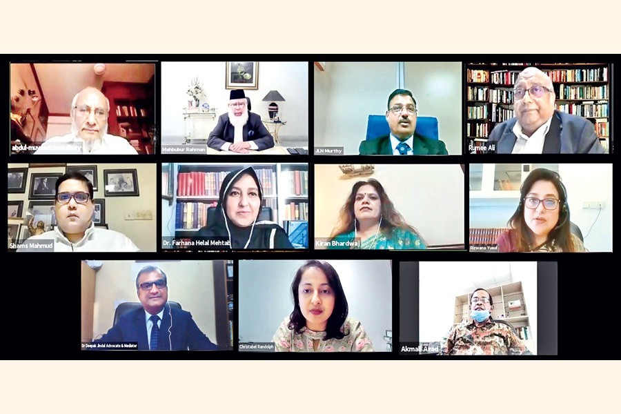 BIAC Chairman Mahbubur Rahman (top, 2nd from left) and panellist discussants take part in a webinar on 'Mediation before Arbitration or Litigation?' on Thursday, jointly organised by the Bangladesh International Arbitration Centre (BIAC) and the International Centre for Alternative Dispute Resolution (ICADR), India