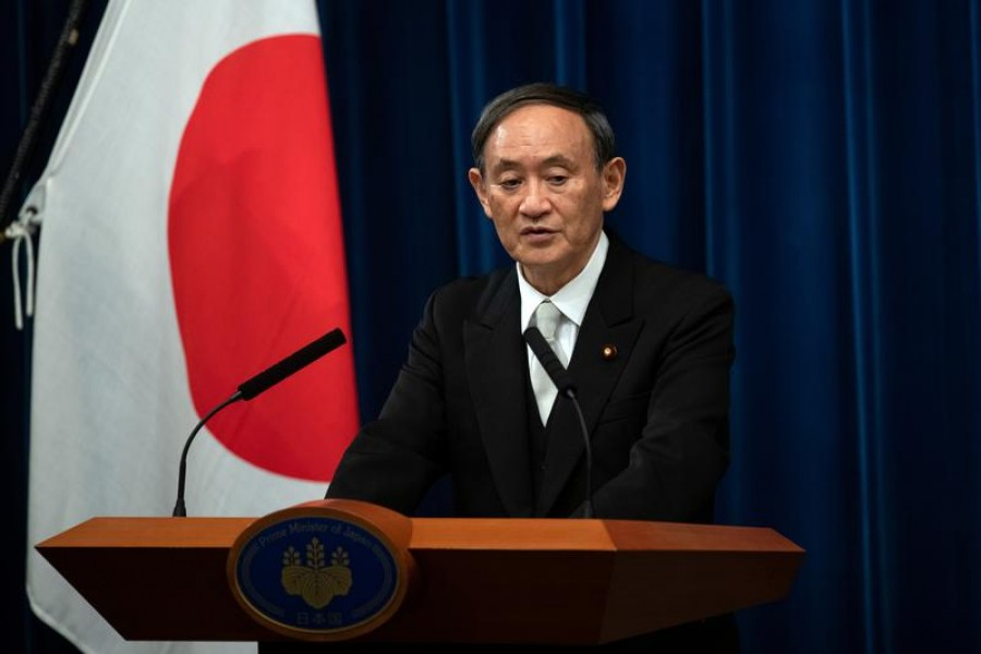 Yoshihide Suga speaks during a news conference following his confirmation as prime minister of Japan in Tokyo, Japan, September 16, 2020 —Carl Court/Pool via Reuters