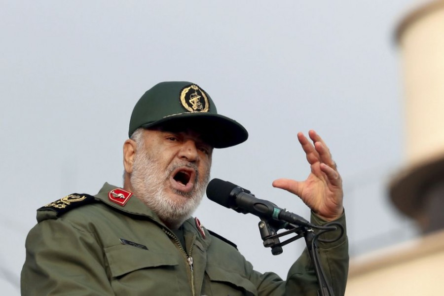 """In this Monday, Nov 25, 2019 file photo, Chief of Iran's Revolutionary Guard Gen Hossein Salami speaks at a pro-government rally, in Tehran, Iran. The chief of Iran's paramilitary Revolutionary Guard has threatened to go after everyone who had a role in a top general's January killing during a US drone strike in Iraq. The guard's website on Saturday, Sept 19, 2020 quoted Gen Hossein Salami as saying, """"Mr Trump! Our revenge for martyrdom of our great general is obvious, serious and real."""" US President Donald Trump warned this week that Washington would harshly respond to any Iranian attempts to take revenge for the death of Gen Qassem Soleimani. (AP Photo/Ebrahim Noroozi)"""