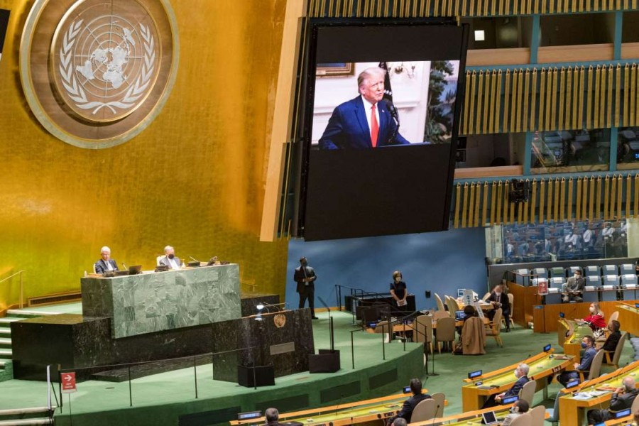 US President Donald Trump speaks during the 75th annual UN General Assembly, which is being held mostly virtually due to the coronavirus disease (Covid-19) pandemic in the Manhattan borough of New York City, New York, US on September 22, 2020 — United Nations/Handout via REUTERS