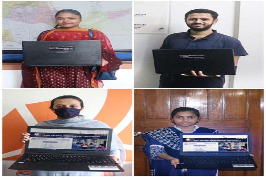 Four students receive laptops from CIU VC