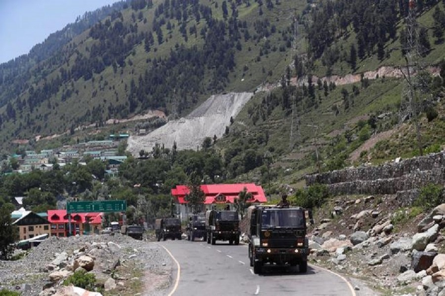 Indian army trucks move along a highway leading to Ladakh at Gagangeer in Kashmir's Ganderbal district, June 17, 2020 — Reuters/Files