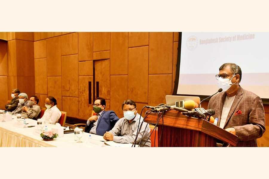 Health and Family Welfare Minister Zahid Malik speaking at a programme organised by Bangladesh Society of Medicine at a city hotel on Sunday — PID