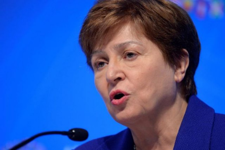 FILE PHOTO: International Monetary Fund (IMF) Managing Director Kristalina Georgieva makes remarks during a closing news conference for the International Monetary Finance Committee (IMFC), during the IMF and World Bank's 2019 Annual Meetings of finance ministers and bank governors, in Washington, US, October 19, 2019. REUTERS/Mike Theiler/File Photo