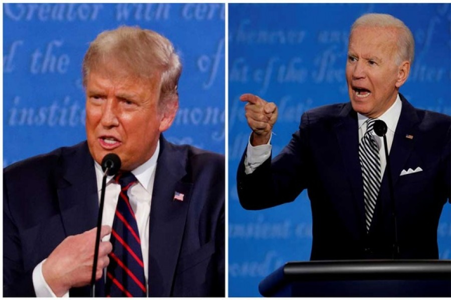 A combination picture shows US President Donald Trump and Democratic presidential nominee Joe Biden speaking during the first 2020 presidential campaign debate, held on the campus of the Cleveland Clinic at Case Western Reserve University in Cleveland, Ohio, US, September 29, 2020 -- Reuters/Files