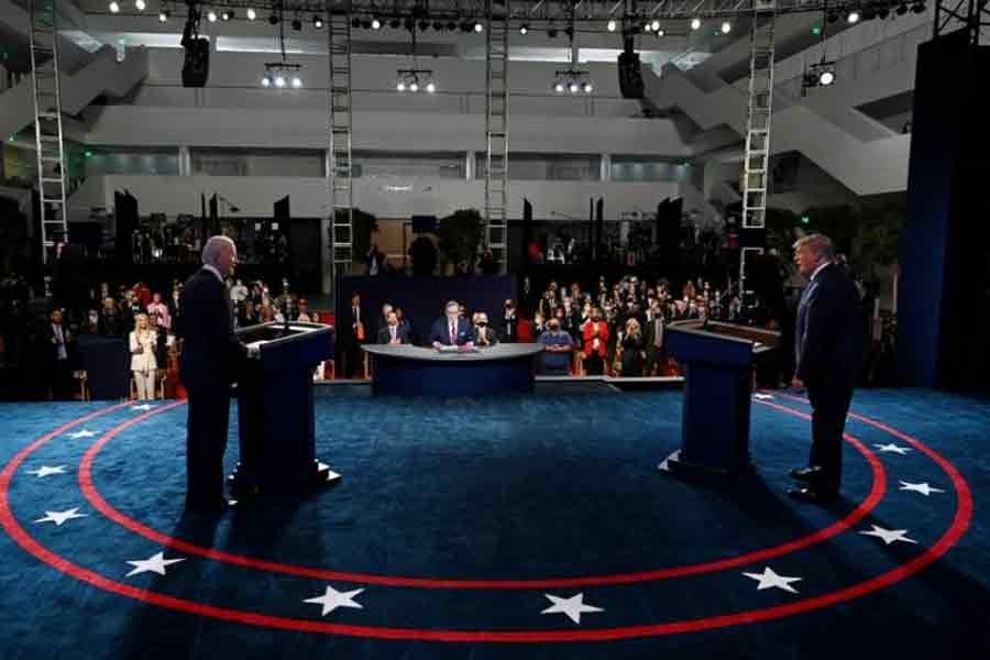 US President Donald Trump and Democratic presidential candidate Joe Biden participating in the first presidential debate at Case Western University and Cleveland Clinic, in Cleveland, Ohio, US, on September 29 –Reuters file photo