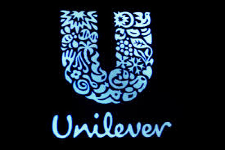 The company logo for Unilever is displayed on a screen on the floor of the New York Stock Exchange (NYSE) in New York, US on February 17, 2017 — Reuters/Files