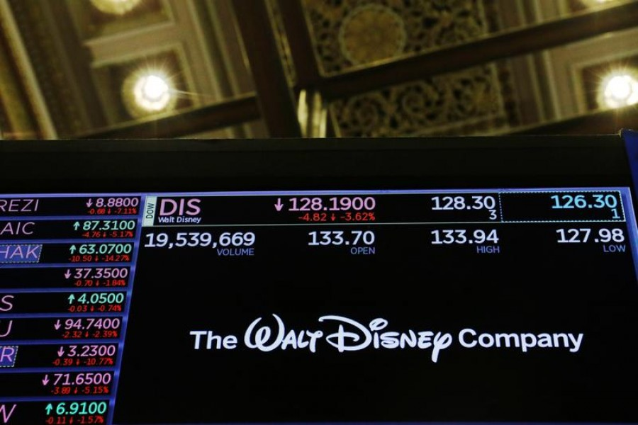 The logo of the Walt Disney Company is displayed above the floor of the New York Stock Exchange in New York, US on February 25, 2020 — Reuters/Files