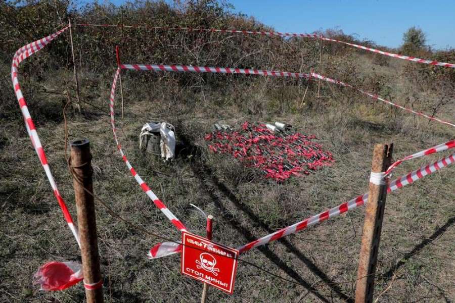 Unexploded cluster bomblets collected after recent shelling during the military conflict over the breakaway region of Nagorno-Karabakh are seen on the outskirts of Stepanakert on October 12, 2020 — Reuters photo