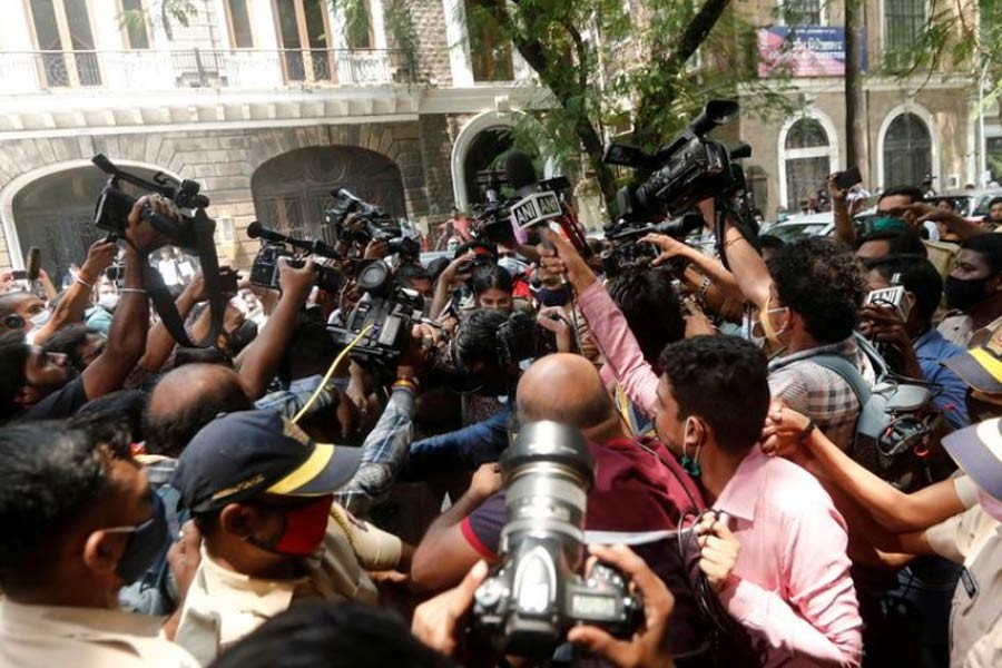 Media personnel surrounding Bollywood actor Rhea Chakraborty as she arrives at Narcotics Control Bureau (NCB) office for questioning, following the death of her boyfriend and actor Sushant Singh Rajput, in Mumbai on September 6 this year –Reuters file photo
