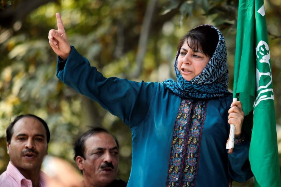Mehbooba Mufti, president of People's Democratic Party (PDP), Kashmir's main opposition party, speaks after police stopped her protest march in Srinagar on October 5, 2011 — Reuters/Files