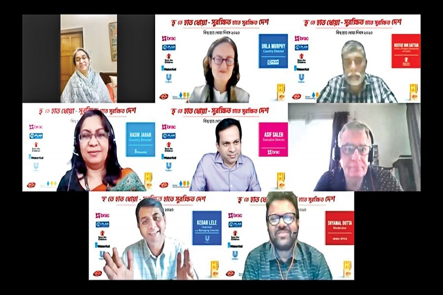 Education Minister Dr Dipu Moni (top, extreme left) and others at the virtual roundtable on 'H for Handwashing-A Protected Hand Means a Protected Nation' hosted by Unilever Bangladesh on Wednesday