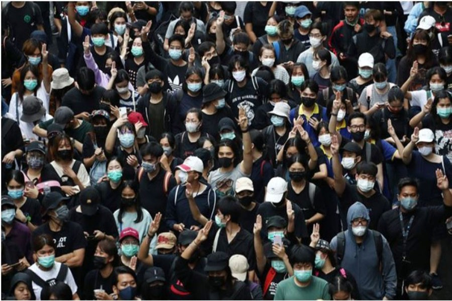 Pro-democracy demonstrators gather during a protest, in Bangkok, Thailand October 17, 2020. REUTERS
