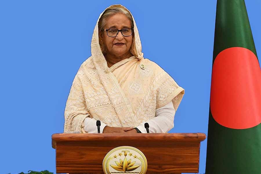 Prime Minister Sheikh Hasina addressing the First International e-Conference on Critical Care-2020 on Saturday -PID Photo