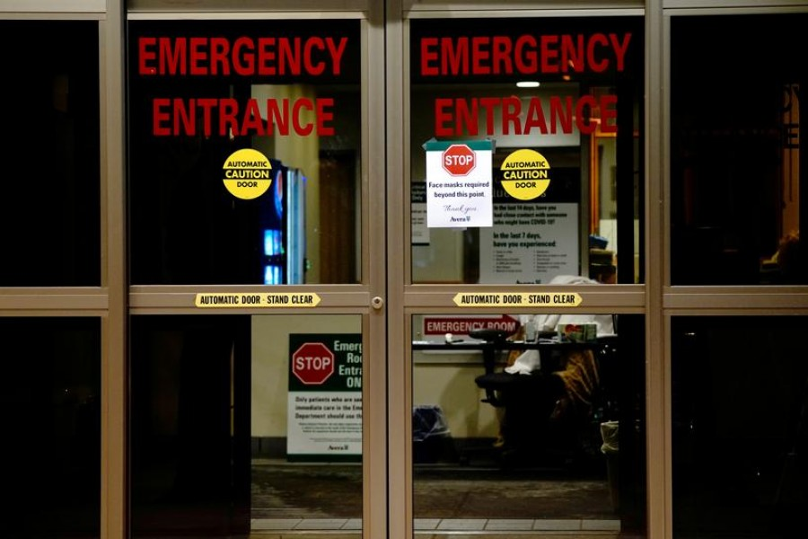 A view shows the entrance to the emergency room of Avera St Luke's Hospital as the coronavirus disease (Covid19) outbreak continues in Aberdeen, South Dakota, US on October 26, 2020 — Reuters/Files