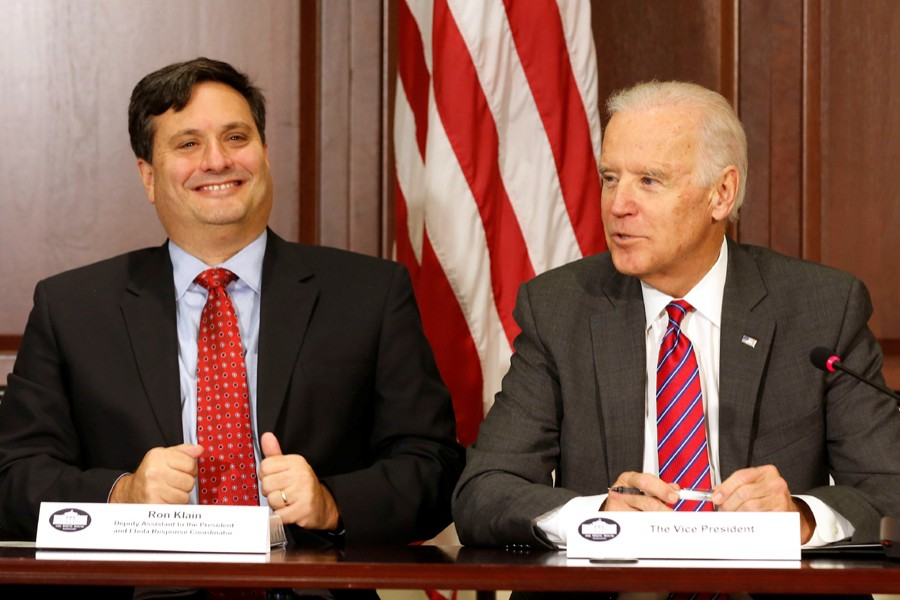 US President-elect Joe Biden (R) and Ron Klain seen in this undated Reuters photo