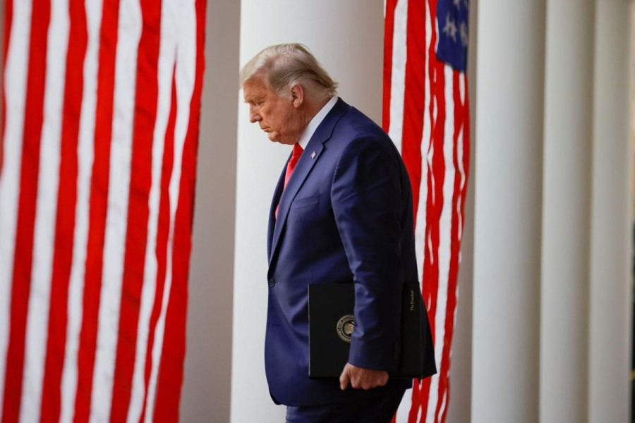 """US President Donald Trump walks down the West Wing colonnade from the Oval Office to the Rose Garden to deliver an update on the so-called """"Operation Warp Speed"""" programme at the White House in Washington, US on November 13, 2020 — Reuters photo"""