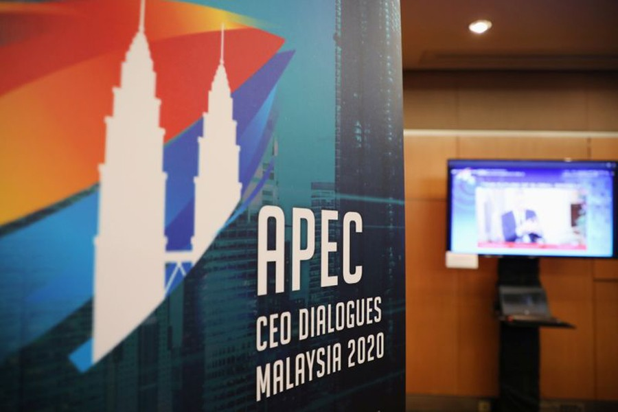 A logo of APEC CEO Dialogues Malaysia 2020 is pictured at command center, in Kuala Lumpur, Malaysia on November 18, 2020 — Reuters photo