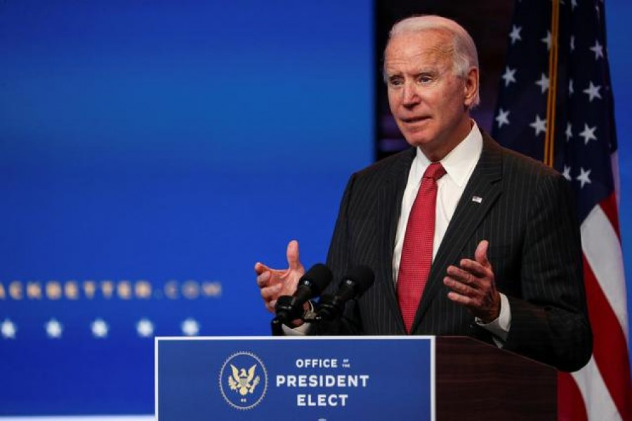 US President-elect Joe Biden speaks to reporters following an online meeting with members of the National Governors Association (NGA) executive committee in Wilmington, Delaware, US, November 19, 2020 — Reuters